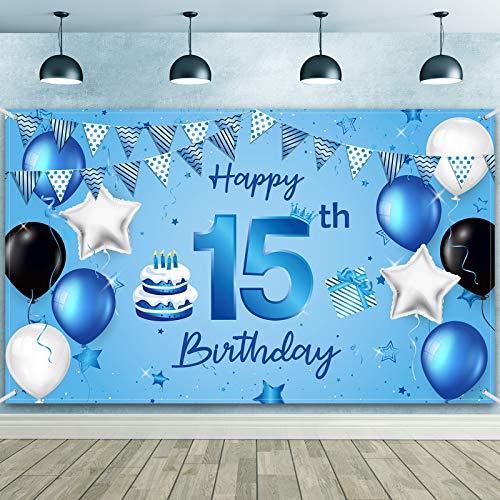 Banner de Fondo Happy 15th Birthday Tela Extra Grande Fondo de Fotografía Cartel de Cumpleaños para Decoraciones de Fiesta de Aniversario de 15 Cumpleaños, 72,8 x 43,3 Pulgadas (Elegante 15)