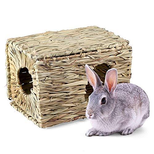 Nido de hierba hecho a mano, TEEPAO Casa tejida plegable de la hierba para el conejillo de Indias del erizo del hámster del conejo, Juguete para masticar no tóxico, Heno comestible con aroma, Ligero