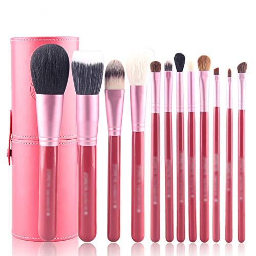 LJHA huahzuangshua Maquillage Brush Set, Professional Débutant Animal Outils De Maquillage De Cheveux Fondation Brush Eye Shadow Brush Brosse À Sourcils 12 Pack (Couleur : Pink)