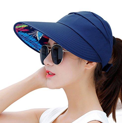 HINDAWI Sun Hats for Women Wide Brim UV Protection Summer Beach Visor Cap, Navy