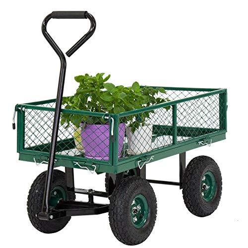 Kintness Garden Carts Yard Dump Wagon Cart Lawn Utility Cart w/ 600-pound Capacity Heavy Duty Beach Lawn Yard Landscape