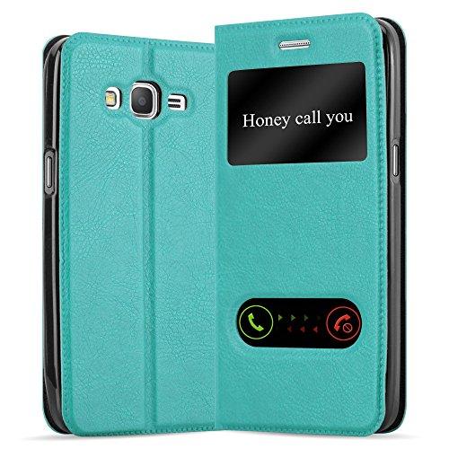 Cadorabo Hülle für Samsung Galaxy Grand Prime in Mint TÜRKIS – Handyhülle mit Magnetverschluss, Standfunktion & 2 Sichtfenstern – Hülle Cover Schutzhülle Etui Tasche Book Klapp Style