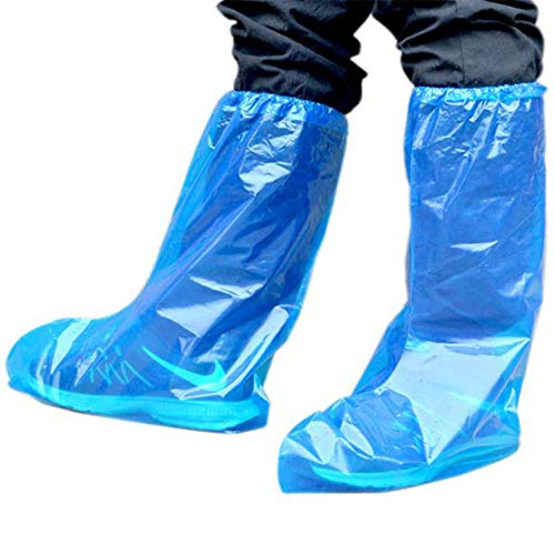 25 Paare Einweg-Überstiefel Blaue Plastikwasserdichte Überschuhe lange Regen-Schutzüberschuhe for Erwachsene