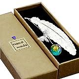 Toirxarn Marque-page en métal en forme de plume avec papillon 3D et perles en verre Cadeau idéal pour la lecture, la femme et les enfants.