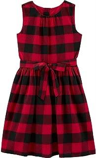 Girls Buffalo Plaid A-Line Holiday Dress