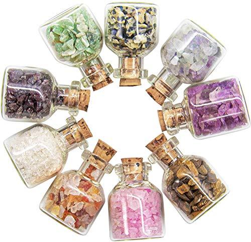 9 Stück Mini Glas Wunsch Flaschen, Heilung Reiki Edelstein Chip Stein Set, für DIY-Schmuck, Making Home Dekoration