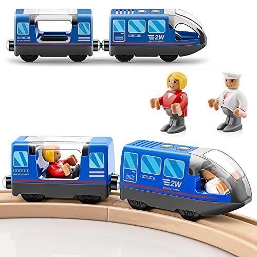 Locomotiva ad Azione a Batteria (connessione Magnetica) - Potente Set di proiettili per Motore Adatto a Thomas,Brio, Treno in Legno e binari, Auto Giocattolo per Bambini-Blu