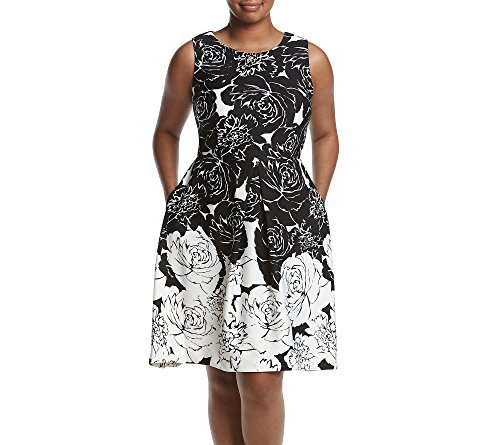 Taylor Dresses Women's Plus Size Positive Negative Floral Border Scuba Fit and Flare Dress, Black/White, 24W