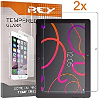 REY 2X Protector de Pantalla para BQ AQUARIS M10, Cristal Vidrio Templado Premium, Táblet