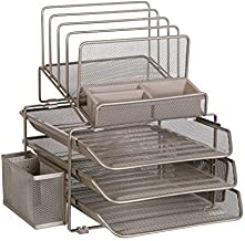 DESIGNA Stackable Mesh Desk Organizer with 3 Sliding Letter Trays 4 File Holders 2 Side Compartments & Pencil Holder Non-Slip All in One Desk Organizers Office Storage, Champagne