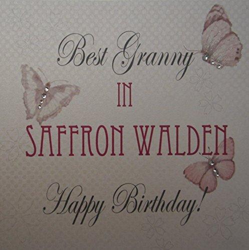 Wit katoen kaart Best Granny in saffraan bos handgemaakt verjaardagskaart met vintage vlinders