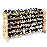 COSTWAY Weinregal Holz, Weinständer Flaschenregal 6 Höhe zur Auswahl, Holzregal stabil, Weinschrank Flaschenständer (für 72 Flaschen)