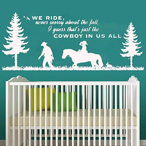 Decoración de póster de habitación Infantil para bebés con calcomanía de Pared de Vaquero Mural de Vinilo extraíble