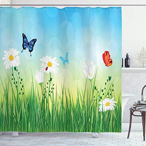 ABAKUHAUS Sommer Duschvorhang, Wiesengänse Gras, mit 12 Ringe Set Wasserdicht Stielvoll Modern Farbfest & Schimmel Resistent, 175x240 cm, Mehrfarbig