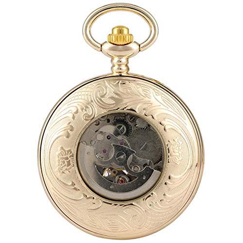 Reloj de Bolsillo mecánico automático Golden Roman números automáticos Esqueleto Elegante Phoenix Steampunk Hombres Mujeres Cadena