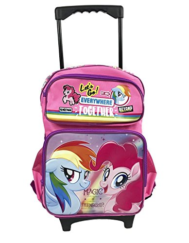 My Little Pony Purple & Pink Canvas 16' Large School Rolling Backpack Luggage-Pink