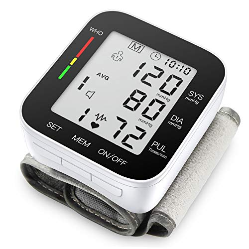 AROJO Blood Pressure Monitor Automatic Large LCD Display & Adjustable Wrist Cuff Automatic 90 * 2 Reading Memory for Home Use (MZ1681B)