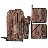 Guante de Horno de 4 Piezas y agarradera,Textura de tablón de Madera,Guantes Aptos para Alimentos Antideslizantes Impermeables y Resistentes al Calor para microondas cocinar y Hornear en la Cocina