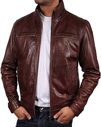BRANDSLOCK Men Leather Jacket in Harrington Style, Brown with Lamb Nappa Leather