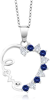925 Sterling Silver Created White & Blue Sapphire Heart LOVE Pendant Necklace On 18 Inch Chain