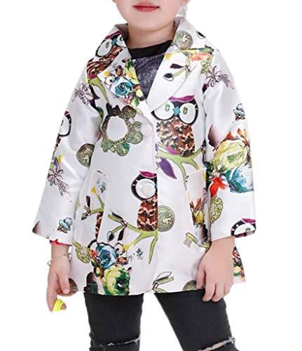 YiyiLai YiyiLai Modern Geblümt Herbst Frühling Sommer Langarm Jacke Mantel Outwear Trenchcoat Mit Blume Druck Bunt 110
