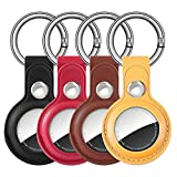 Case for AirTag Case 4 Pack Leather Protective AirTags Cases,Anti-Scratch AirTag Finder Collar Full Cover Holder with Keychain Ring Designed,Safety for Apple Airtag Tracking Locator (Multi-Color)