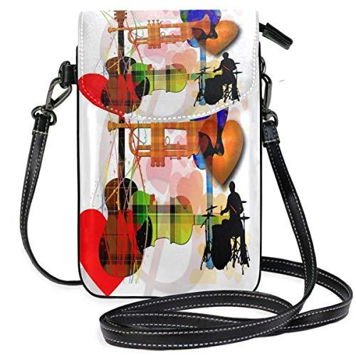 XCNGG Monedero pequeño para teléfono celular Music Treble Clef Trumpet Guitar Cell Phone Purse Wallet for Women Girl Small Crossbody Purse Bags