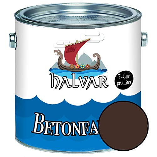 Halvar Betonfarbe/Bodenbeschichtung SEIDENMATT Braun RAL 8000-8028 Fassadenfarbe (5 L, RAL 8017 Schokoladenbraun)