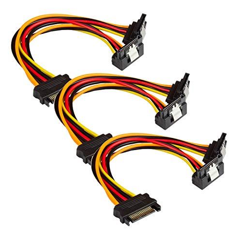 Faconet® 3er Set SATA Y Stromkabel SATA Stecker an 2X SATA Buchse gewinkelt (3er)