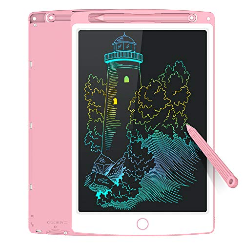 Tecboss LCD Writing Tablet Electronic Drawing Pads for Kids, Portable Reusable Erasable Ewriter, Elder Message Board,Digital Handwriting Pad Doodle Board for School, Kitchen or Office (Pink 10'')
