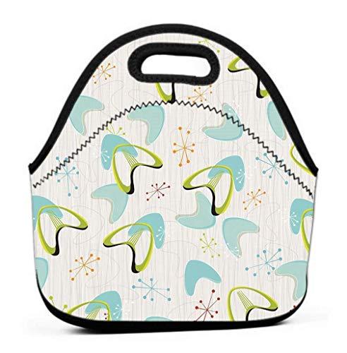 Lunch Bag Insulated Lunch Tote Bag Perfect for Work Picnic Inspired barkcloth Fabrics s s Retro Boomerangs Stars Pattern Retro bark Cloth Boomerangs Modern