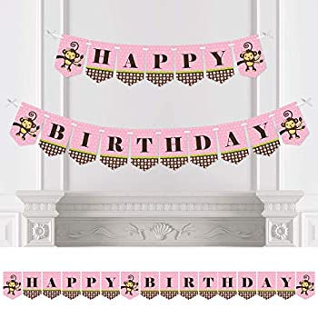 Big Dot of Happiness Pink Monkey Girl - Birthday Party Bunting Banner - Pink Party Decorations - Happy Birthday