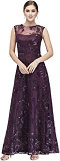 Floral-Embroidered Illusion Ball Mother of Bride/Groom Gown with Sequins Style ES966DB