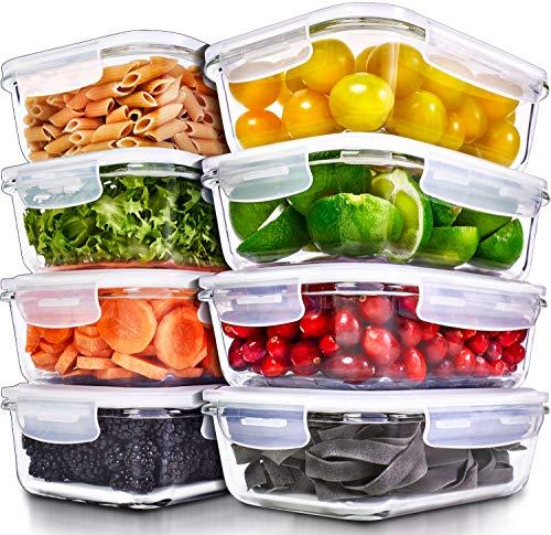 Recipientes para Alimentos [8 Pieza 1000 ml] -Recipientes de Cristal para Alimentos Hermético -Contenedores de Alimentos -Juego de Recipientes de Cristal Apto para Lavavajilla Microondas Congelador