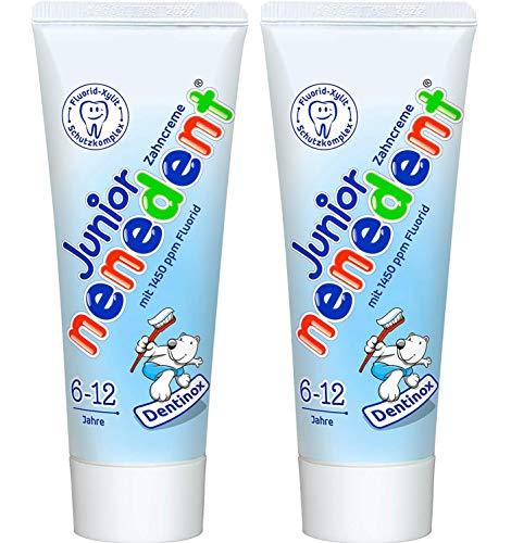 Nenedent Junior Zahncreme für Kinder von 6 - 12 Jahren, mit FLuorid, 2er Pack (2 x 75ml)