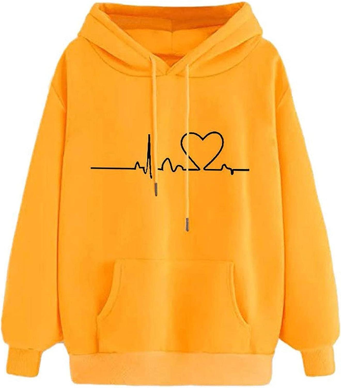 Hoodies for Women Pullover Long Sleeve Heart Print Solid Hooded Sweatshirts Teen Girls Casual Loose Tops Shirts
