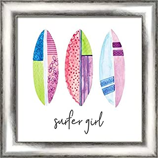 Sports Girl Surfer 20x20 Silver Contemporary Wood Framed Canvas Art by Noonday Design