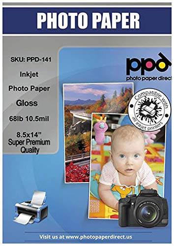 """PPD Inkjet Glossy Super Premium Photo Paper Legal 8.5 x 14"""" 68lbs 255gsm 10.5mil X 50 Sheets (PPD141-50) …"""