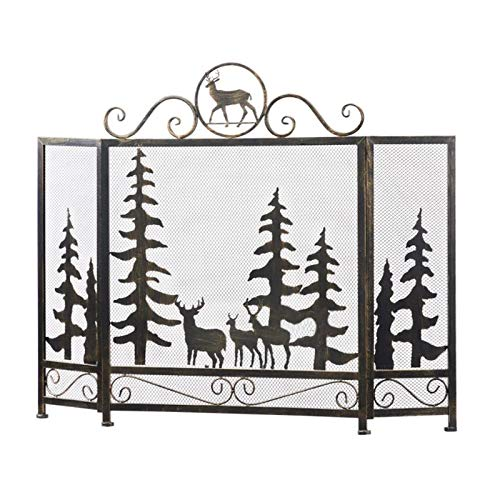 xiaokeai Spark Guard Rustic Worn Finish Iron Fireplace Screen 3-Panel Forest Elk Steel Mesh Fireplace Screen Fire Spark Guard Grate for Living Room Home Decor, Worn bronze Spark Protection