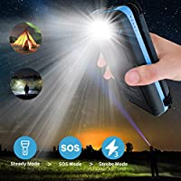 Pealiker Solar Charger 25000mAh Portable Solar Power Bank with 4 Solar Panels Waterproof Battery Pack with LED Lights for iPhone HUAWEI iPad Samsung and More Camping Travel 28