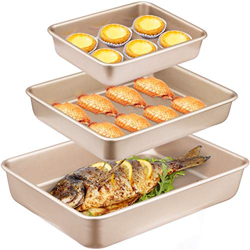 Angiemic Nonstick Set of 3 Pieces Baking Pans Cookie Sheets 9/11/13 inch Bakeware Bread Pan Carbon Steel Cake Pans Bread Tray Bake Mold Roasting Pan Cooking Oven Toaster Pan Golden