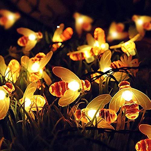 Luz solar 7m Luces con energía solar Honey Bee Lámpara de cadena LED Luz Valla de jardín al aire libre Guirnalda de luces de Navidad Decoraciones