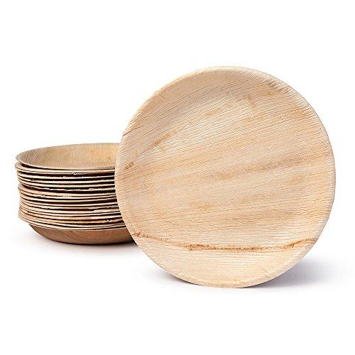 BIOZOYG DTW05379 Einwegteller aus Palmblatt, 25 Stück, rund, Ø25 cm, kompostierbar