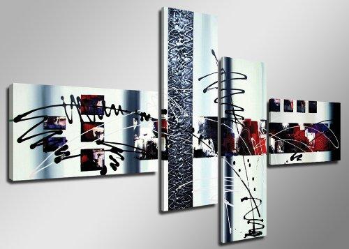 Quadro su tela handpainted look 160 x 70 cm 4 tele modello nr XXL 6513. I quadri sono montati su telai di vero legno. Stampa artistica intelaiata e pronta da appendere