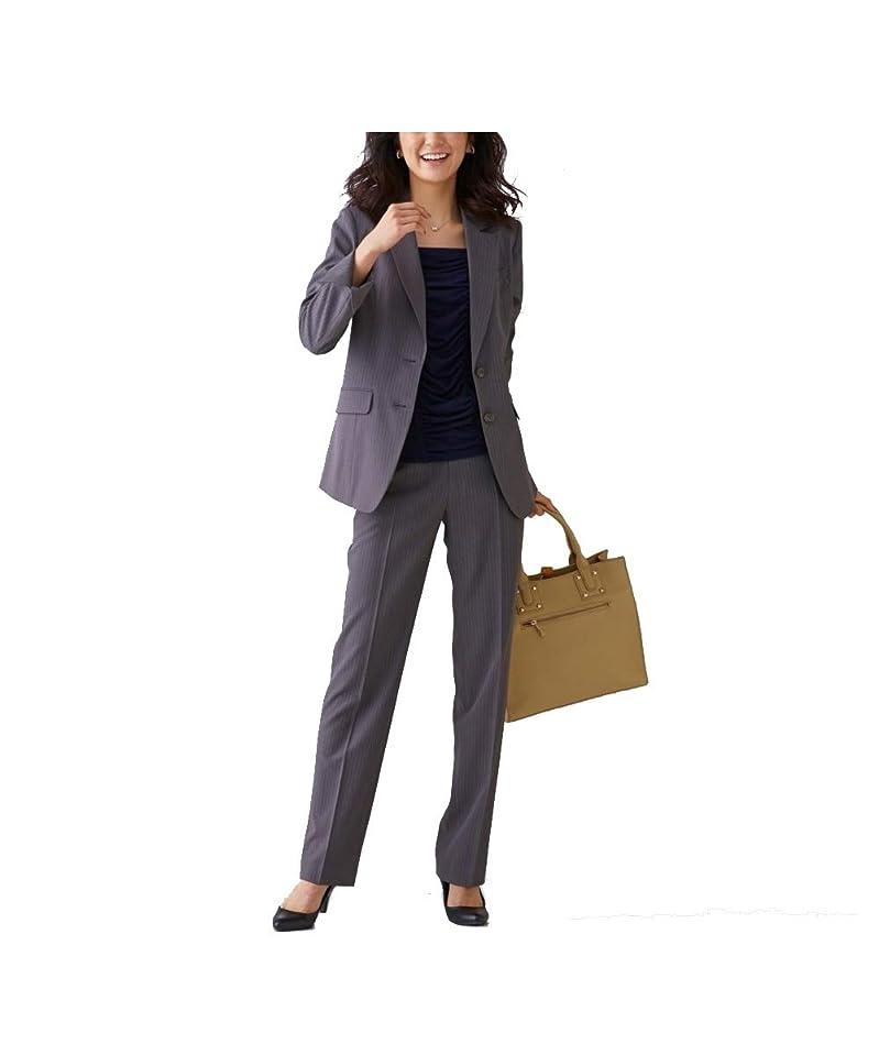 記者消す誓い[nissen(ニッセン)] オフィススーツ パンツスーツ 上下 セット 洗える ストレッチ ロング丈 レディース 大きいサイズ