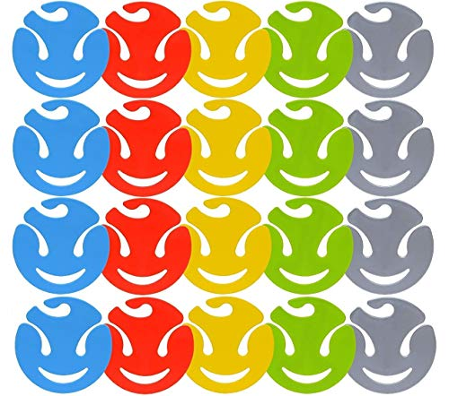 Design 20x Sockenklammern / Wäscheklammern / Sockenclips waschbar Bunt in den Farben Blau Rot Grün Anthrazit Gelb aus Kunststoff / Durchmesser 7cm / Aufhängehaken
