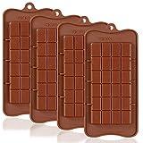 Lot de 4 moules à chocolat Break-Apart, SourceTon, moule anti-adhésif de qualité alimentaire approuvé par la FDA, moule pour barres énergétiques et protéines