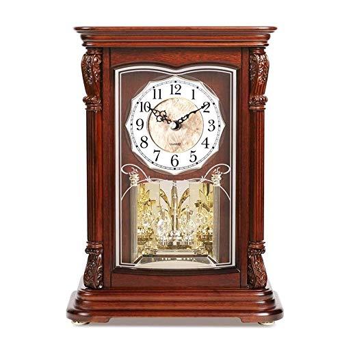 WSXEDC Metall Kamin Uhr, Iconic Colonial Kamin Uhr, Römische Ziffern, Retro-Stil, Glas, Braun, Distressed Beschichtung, Holz, Metall Standuhren