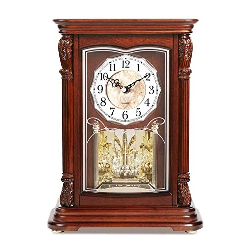 WNN-URG Metall Kamin Uhr, Iconic Colonial Kamin Uhr, Römische Ziffern, Retro-Stil, Glas, Braun, Distressed Beschichtung, Holz, Metall URG