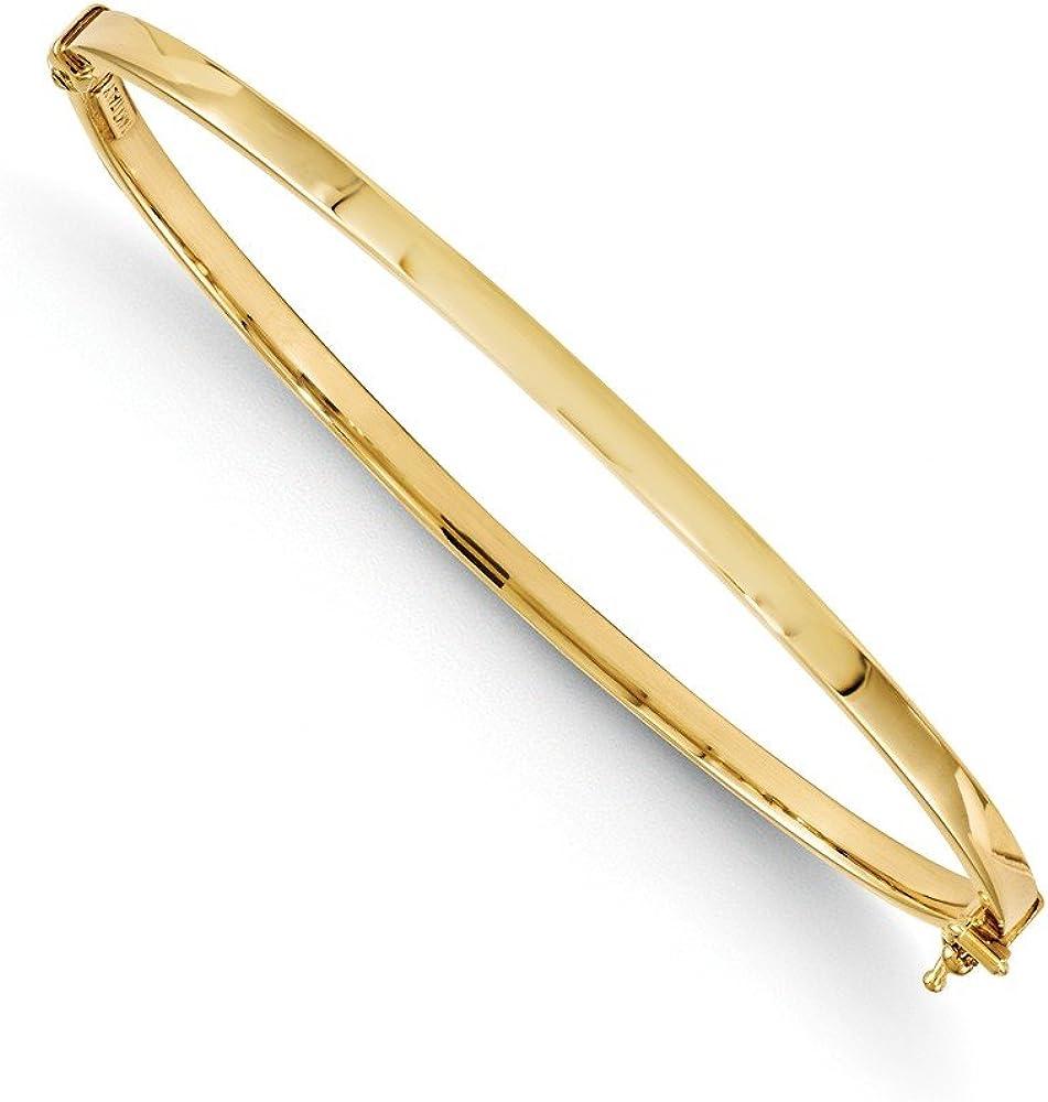 Solid 14k Yellow Gold Polished Hinged Bangle Bracelet 7